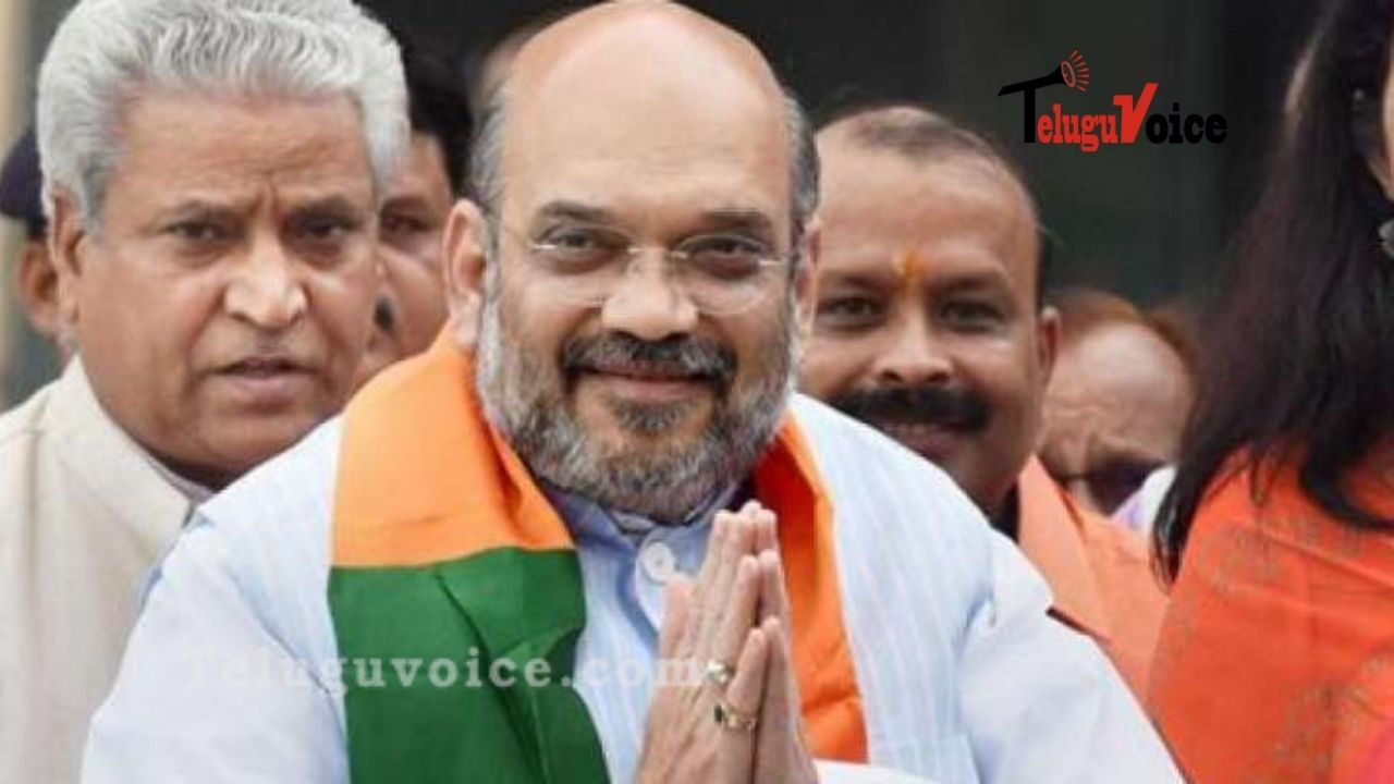 Union Minister Amit Shah Arrives In Hyderabad, Conducts A Mass Roadshow  teluguvoice