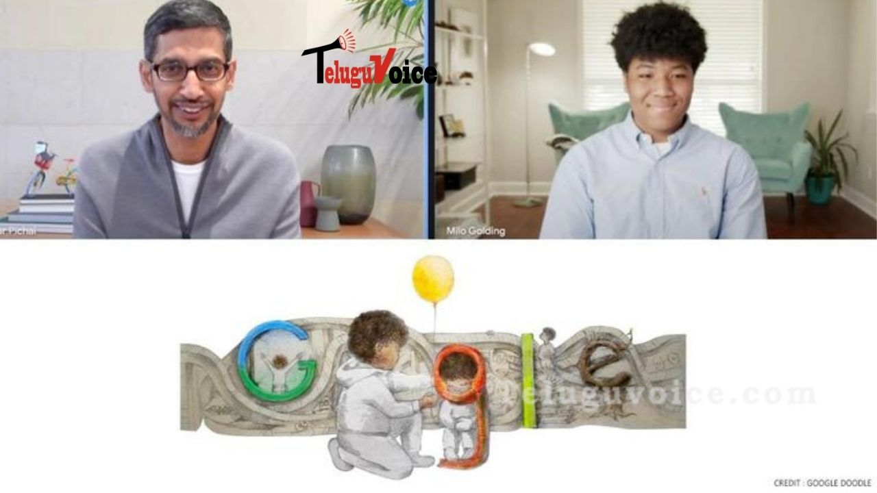 Google CEO Himself Interacted With The Winner Of 2021 Doodle For Google teluguvoice