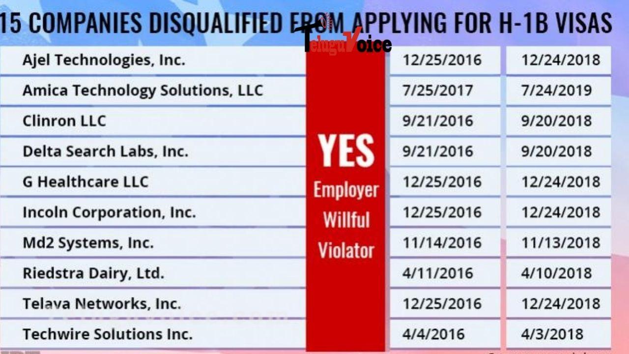 List Of Companies Disqualified Under The H-1B Visa Programme teluguvoice